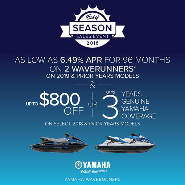 Yamaha Motor Corp., USA Yamaha Waverunners - AS LOW AS 6.49% APR