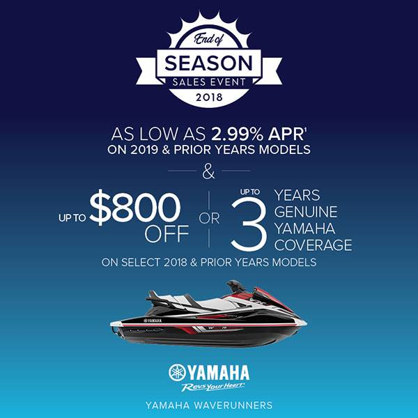 Yamaha Waverunners - AS LOW AS 2.99% APR