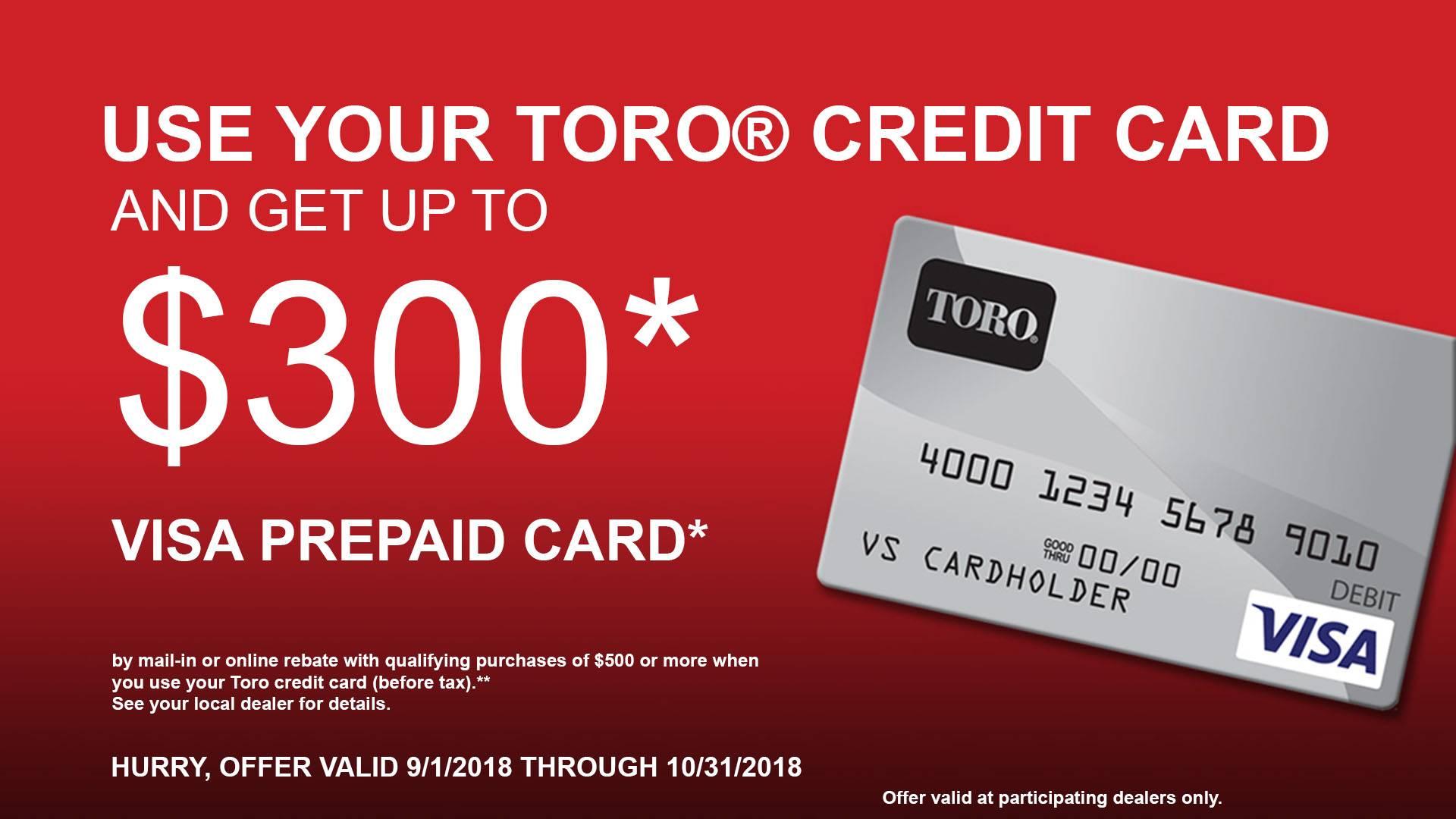 Toro - Credit Card Rebate Offer