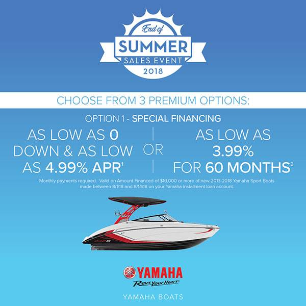 Yamaha Boats - End of Summer Sales Event - Option 1