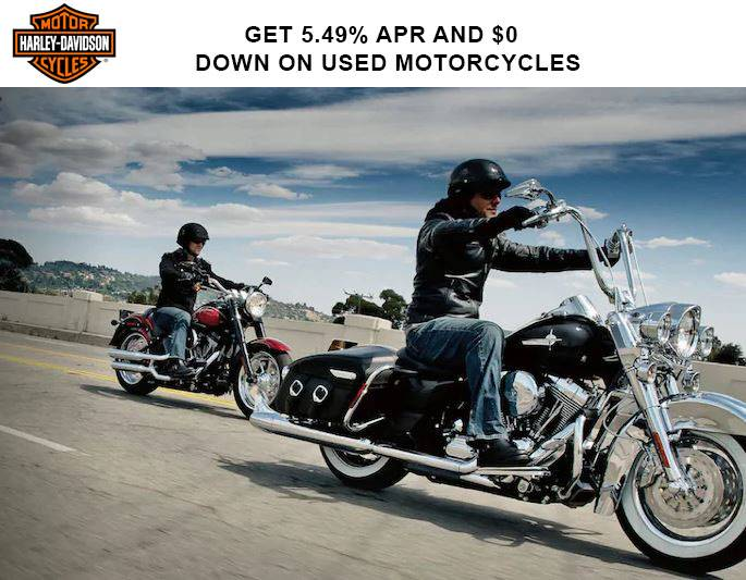 Harley-Davidson - Get 4.99% APR* and $0 DOWN* on Used Motorcycles