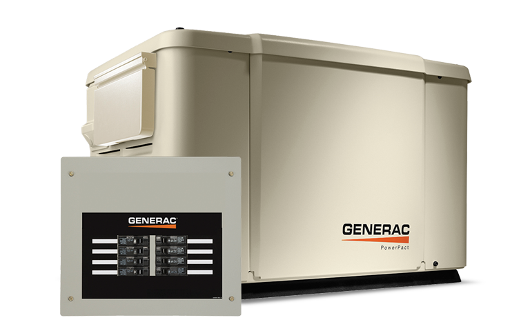 Generac PowerPact Series 7.5 KW Home Backup Generator with 8 Transfer Backup Switch in Athens, Ohio