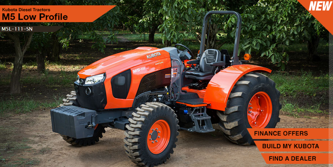 2017 Kubota Low Profile Mid-Size Tractor (M5L-111-SN) in Beaver Dam, Wisconsin