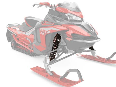 MORE STABILITY: LFS+ front suspension - The new LFS+ front suspension features more suspension travel and wider, 1097 mm ski stance, providing the Lynx Rave sport snowmobile with improved control and flatter cornering capability. - Photo 7