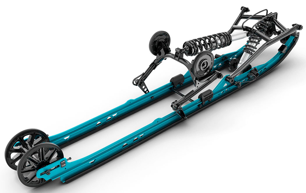 FOR TECHNICAL RIDING: PPS² DS+ rear suspension for deep snow - PPS² DS+ rear suspension is designed for deep snow. It's simple and lightweight construction, combined with a low angle of attack, improves handling and performance. - Photo 4