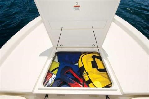 A bow storage compartment is spacious.