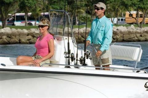 Storage for tackle, gear and rods abounds in this comfortable shallow-water model.